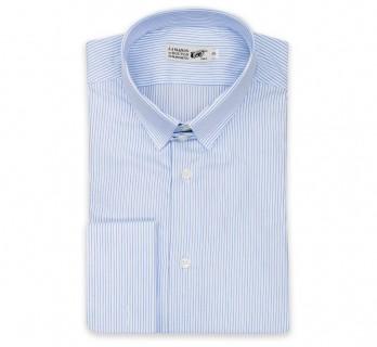 Himmelblau-weiss gestreiftes slim-fit Hemd mit Umschlagmanschette mit englischem Kragen