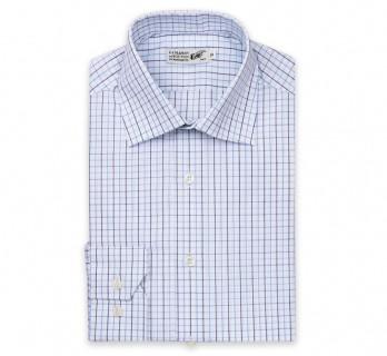 Weisses slim-fit Hemd mit blauen Karos und italienischem Kragen, einfache Manschetten