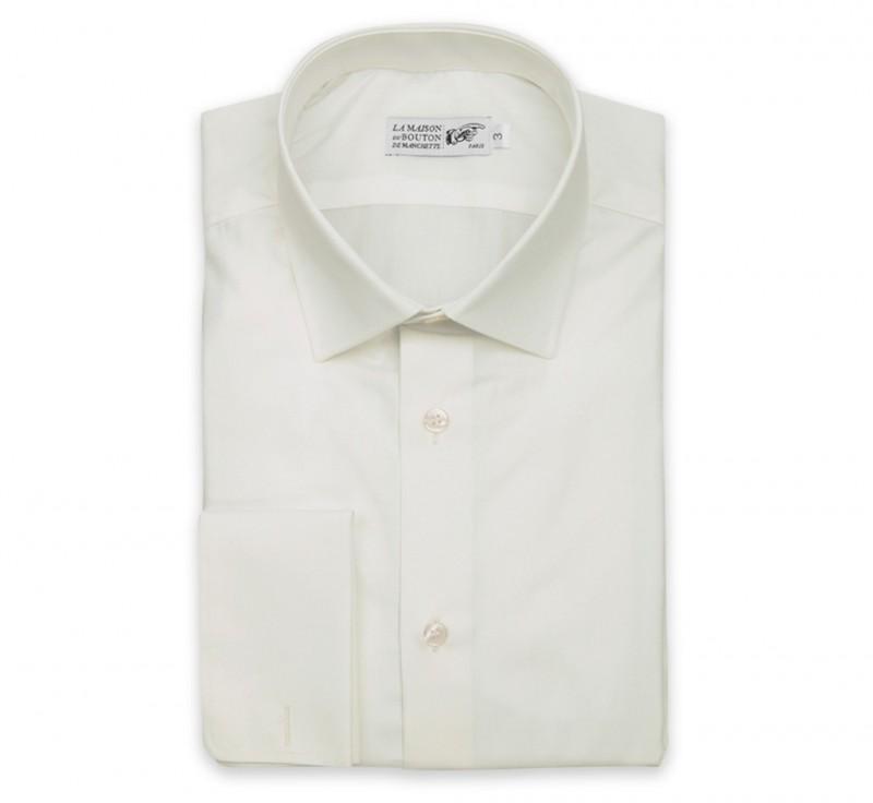 Elfenbeinfarbiges slim-fit Popeline-Hemd mit Umschlagmanschette mit italienischem Kragen