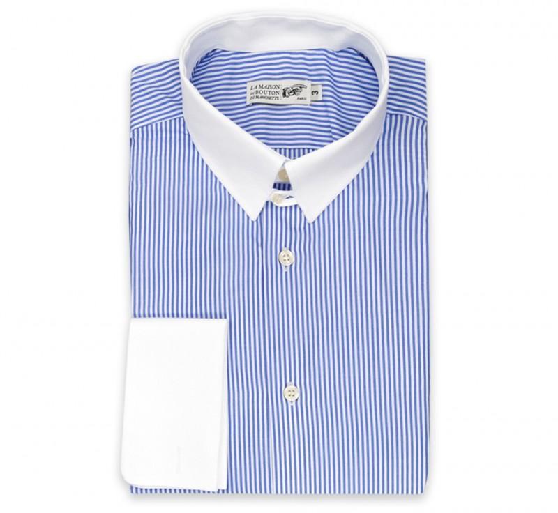 weiss blau gestreiftes regular fit hemd mit