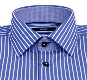 Blaues slim-fit Hugo Boss Hemd mit weissen Streifen, italienischen Kragen und einfachen Manschetten