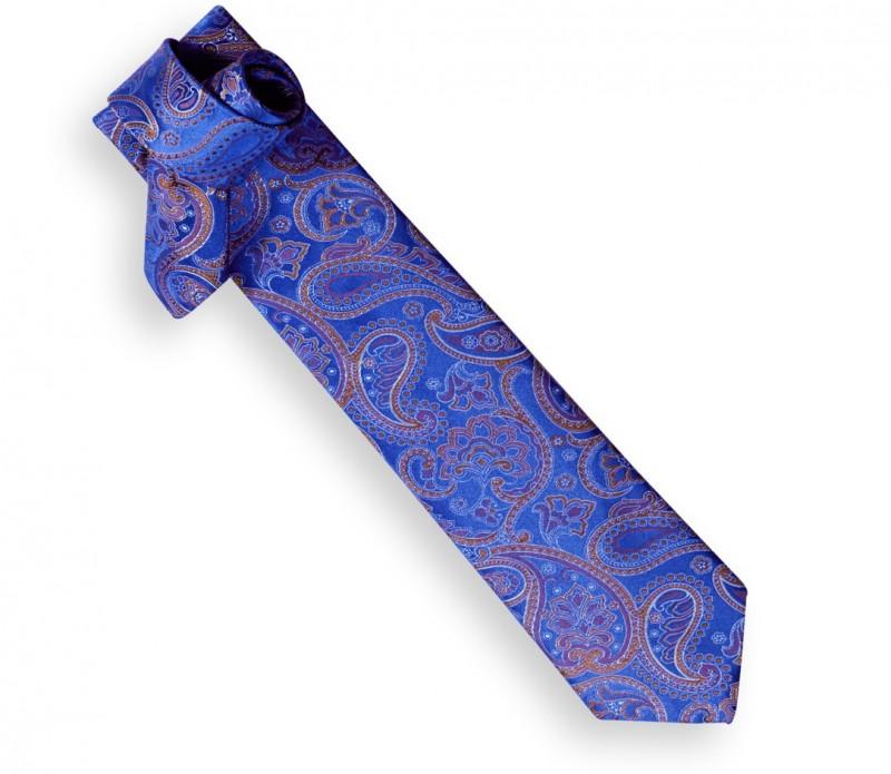 Blaue Héritage-Krawatte mit Kaschmirmotiven - Covent Garden