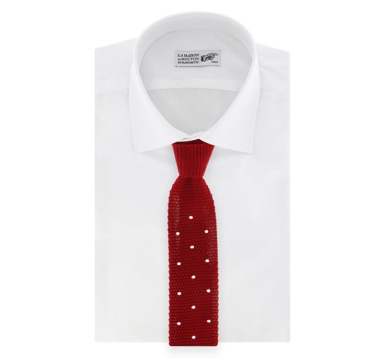 Rote Tapete Mit Weissen Punkten : Rote Strickkrawatte mit wei?en Punkten – Das Krawattenhaus