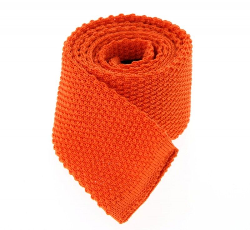 Orange Hugo Boss Baumwolle Strickkrawatte