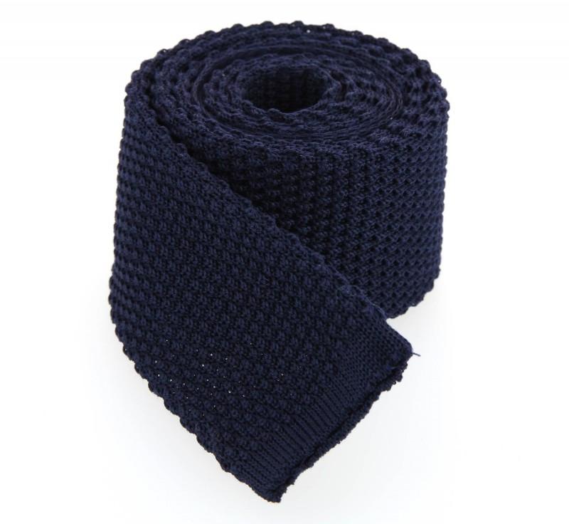 Marineblau Hugo Boss Baumwolle Strickkrawatte