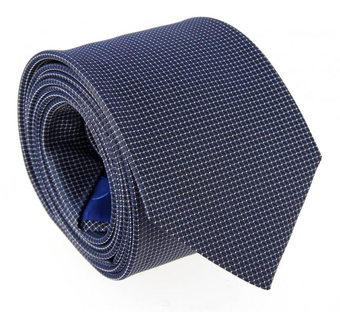 Marineblaue Hugo Boss Krawatte mit Kariertemotiv