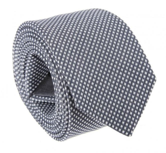 Graue Hugo Boss Slim-Krawatte mit Kariertem Motiv