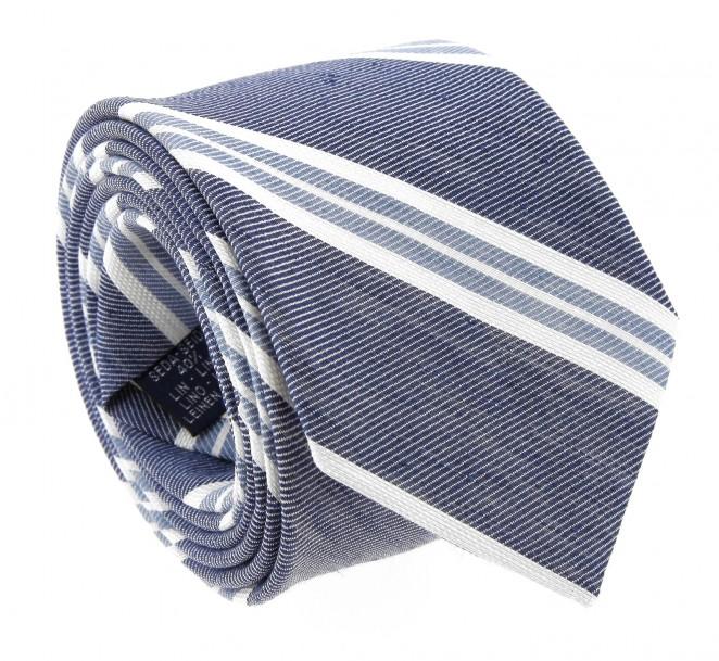 Marineblaue Breuer Krawatte mit weissen und himmelblauen grosse Streifen