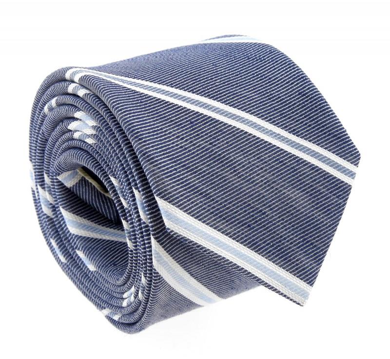 Marineblaue Breuer Krawatte mit weissen und himmelblauen Streifen