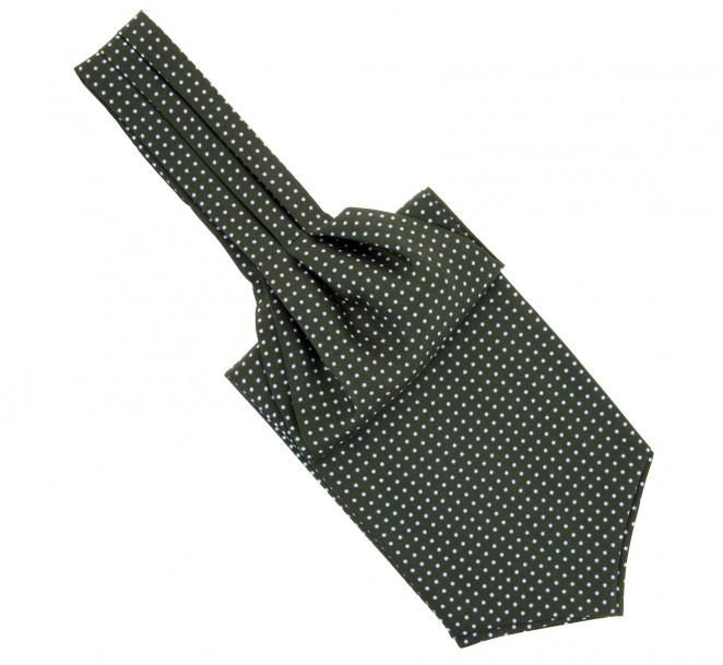 Grünes Plastron (Künstlerschleife) mit weißen und Himmelblauen Punkten - Wigan