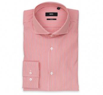 Weiss-orange gestreiftes slim-fit Hugo Boss Hemd mit cutaway Kragen und einfachen Manschetten
