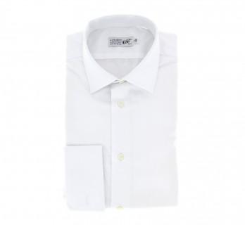 Weisses slim-fit Hemd mit Umschlagmanschette mit italienischem Kragen
