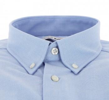 Blaues Oxford-Hemd mit Knopfkragen und einfachen Manschetten Regular-fit