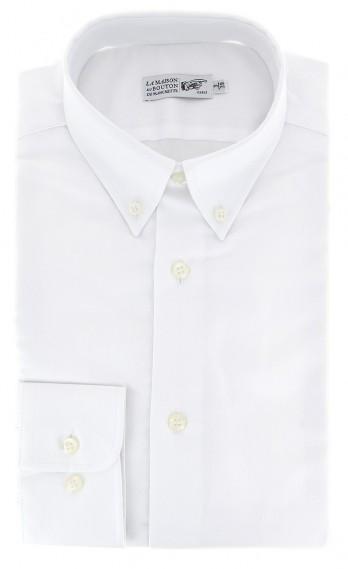 Weisses regular-fit Hemd Oxford mit Knopfkragen und einfachen Manschetten