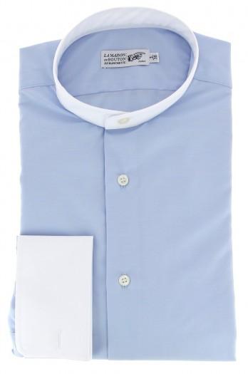 Himmelbaues slim-fit Popeline-Hemd mit Umschlagmanschette mit weissem Stehkragen