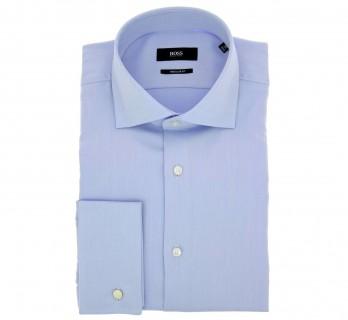 Himmelblaues regular-fit Twill-Hemd mit Umschlagmanschette von Hugo Boss mit offenem italienischem Kragen