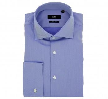 Blaues regular-fit Twill-Hemd mit Umschlagmanschette von Hugo Boss mit offenem italienischem Kragen
