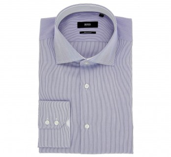 Weisses Hugo Boss Hemd mit feinen blauen Streifen, offenem italienischen Kragen und einfachen Manschetten