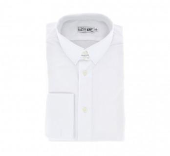 Weisses regular-fit Popeline-Hemd mit Umschlagmanschette mit englischem Kragen