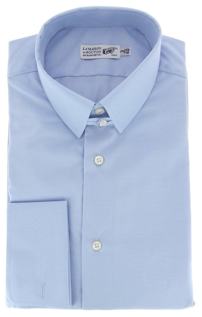 Himmelblaues regular-fit Popeline-Hemd mit Umschlagmanschette mit englischem Kragen
