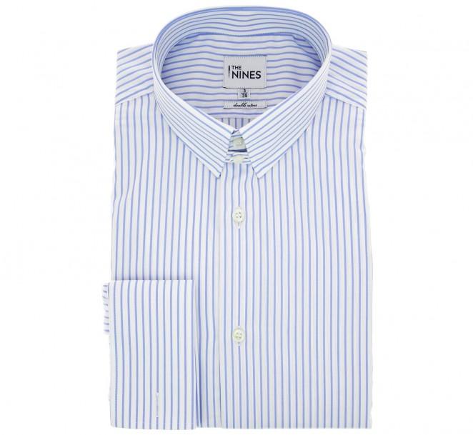 Weiss-himmelblau gestreiftes doppelgen?htes regular-fit Hemd mit Umschlagmanschette mit englischem Kragen