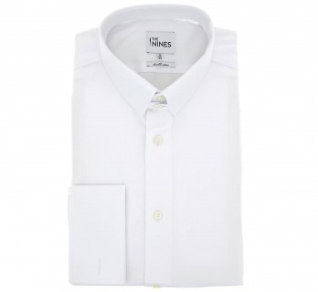 Weisses ddoppelzwirn regular-fit Popeline-Hemd mit englischem Kragen