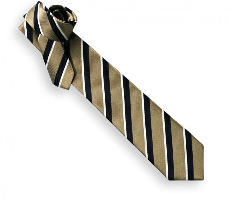 Cravate club tabac et marine - Oxford