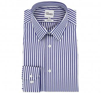 Marineblau-weiss gestreiftes doppelgen?htes regular-fit Hemd mit franz?sischem Kragen und einfachen Manschetten