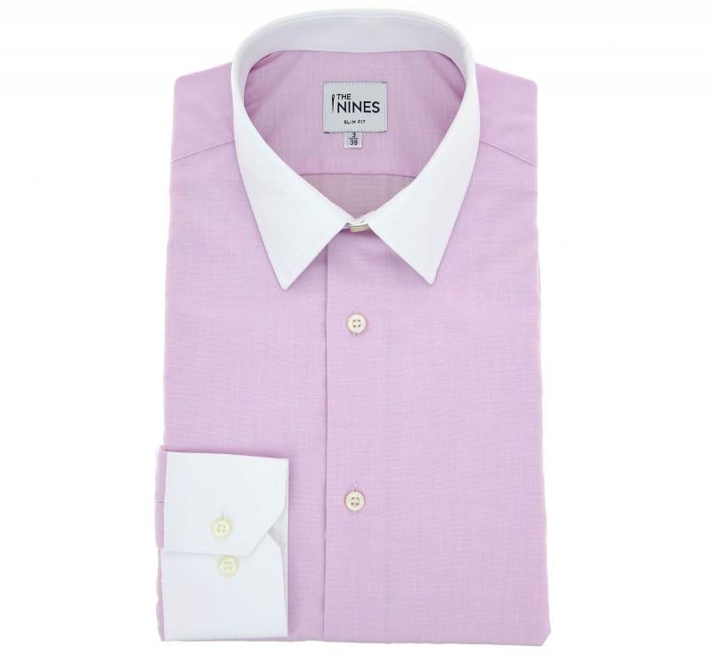 Rosa Ton in Ton slim-fit Hemd mit franz?sischem Kragen und einfachen Manschetten