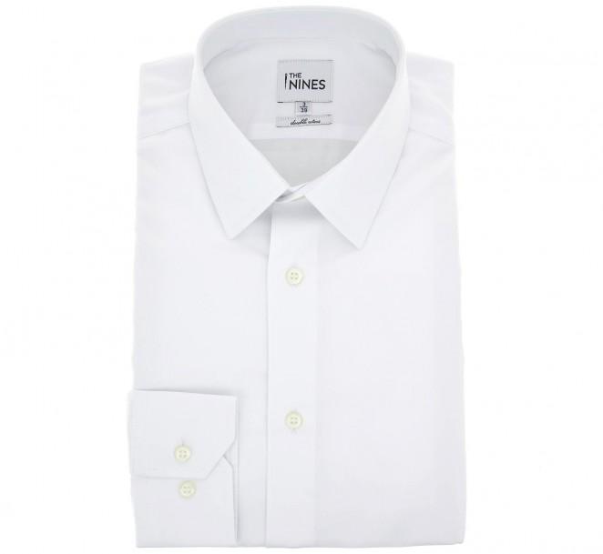 Weisses doppelgen?htes regular-fit Popeline-Hemd mit franz?sischem Kragen und einfachen Manschetten