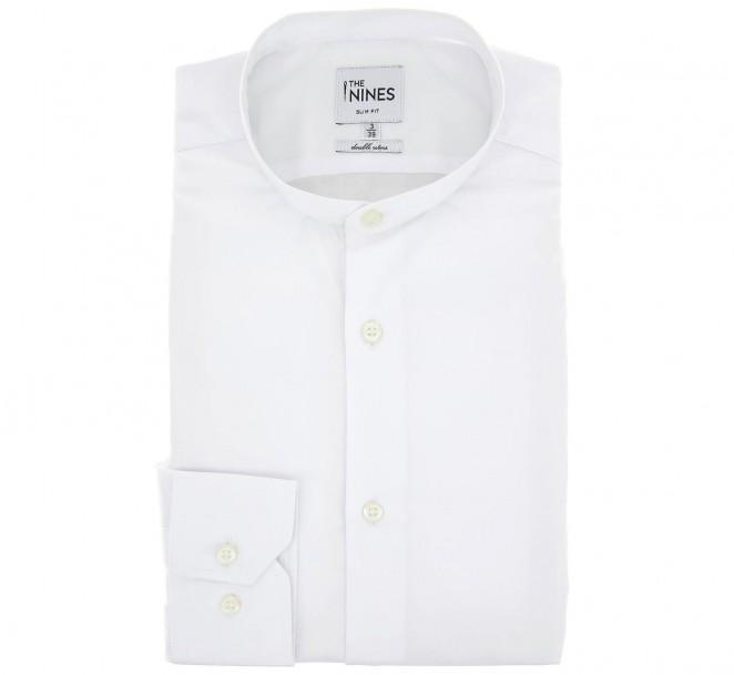 Weisses doppelgen?htes slim-fit Popeline-Hemd mit Stehkragen und einfachen Manschetten
