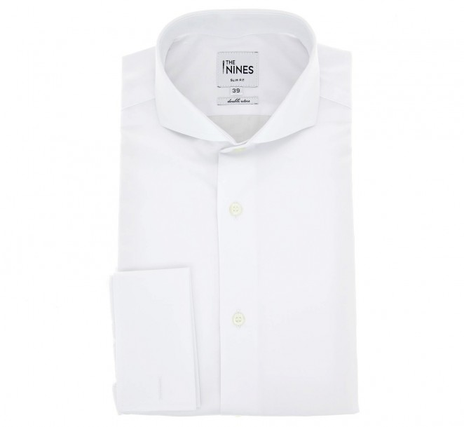 Weisses doppeltgen?htes slim-fit Popeline-Hemd mit cutaway Kragen