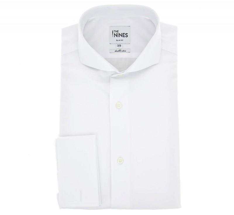Weisses doppelzwirn slim-fit Popeline-Hemd mit cutaway Kragen