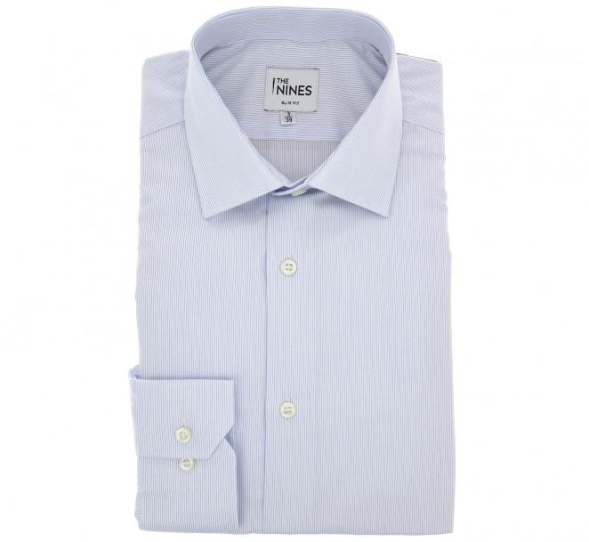Himmelblau-weiss gestreiftes slim-fit Hemd mit italienischem Kragen und einfachen Manschetten
