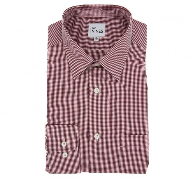 Rotkariertes regular-fit Hemd mit franz?sischem Kragen und einfachen Manschetten