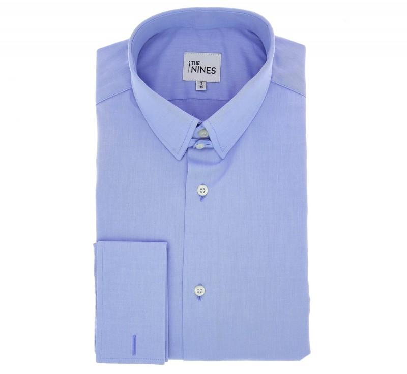 Blaues regular-fit Popeline-Hemd mit Umschlagmanschette mit englischem Kragen