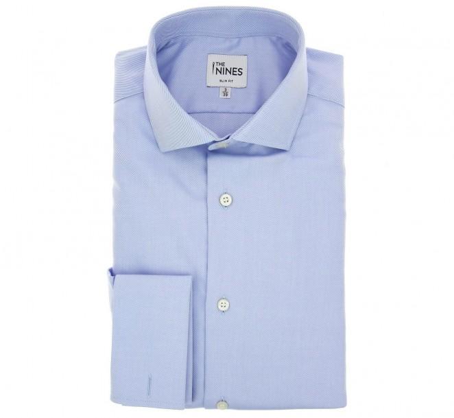 Blaues slim-fit Twill-Hemd mit Umschlagmanschette mit offenem italienischen Kragen
