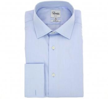 Himmelblaues doppelgen?htes slim-fit Fischgr?ten-Hemd mit Umschlagmanschette mit italienischem Kragen