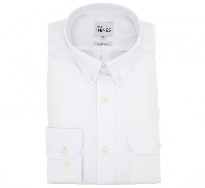 Weisses doppelgen?htes regular-fit Oxford-Hemd mit Knopfkragen, einer Tasche und einfachen Manschetten