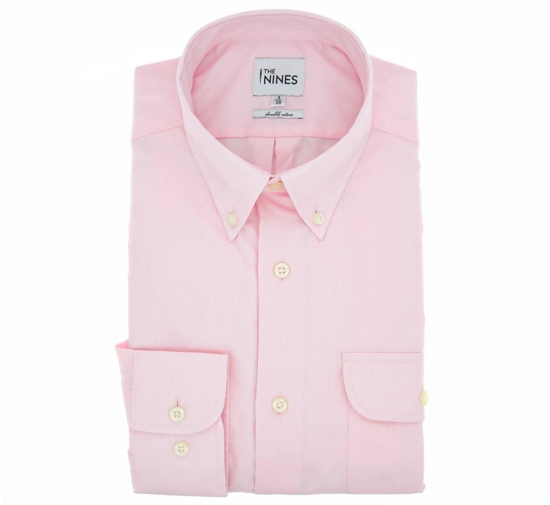 Chemise oxford blanche col boutonné poignets simples coupe regular