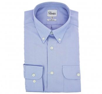 Chemise oxford blanche col boutonné poignets simples coupe regular