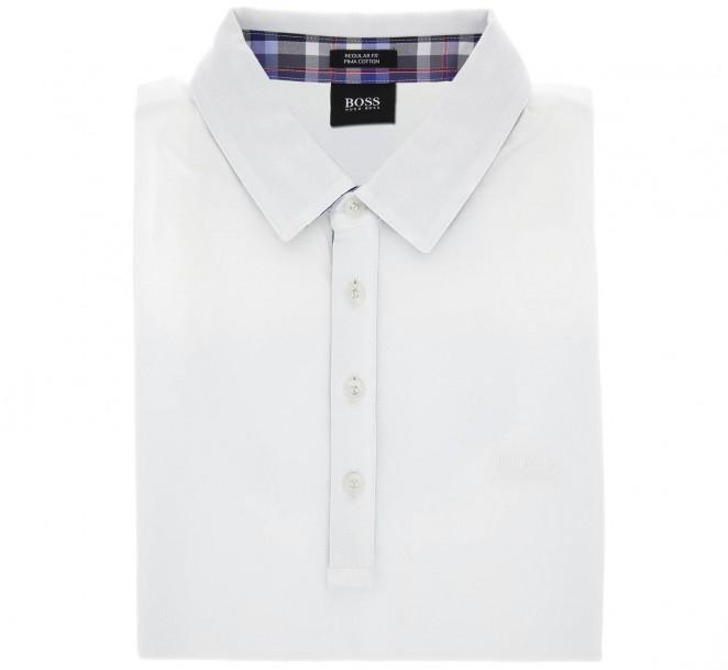 Polo Hugo Boss blanc col écossais regular fit