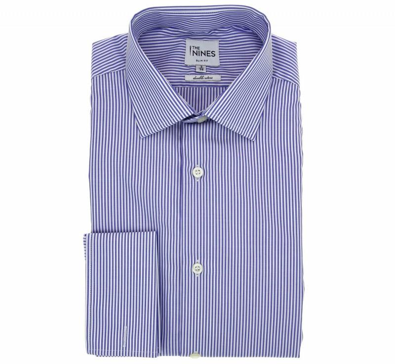 Chemise à rayures bleu col italien coupe cintrée