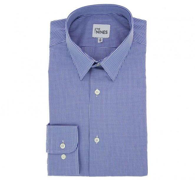 Blaukariertes regular-fit Hemd mit franz?sischem Kragen und einfachen Manschetten