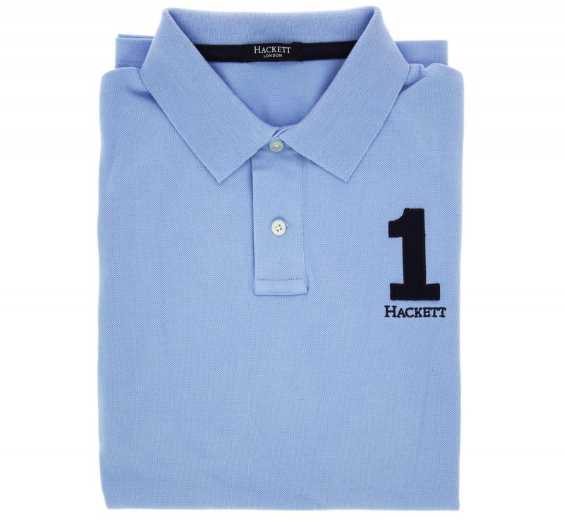 Polo number Hackett bleu ciel coupe ajustée