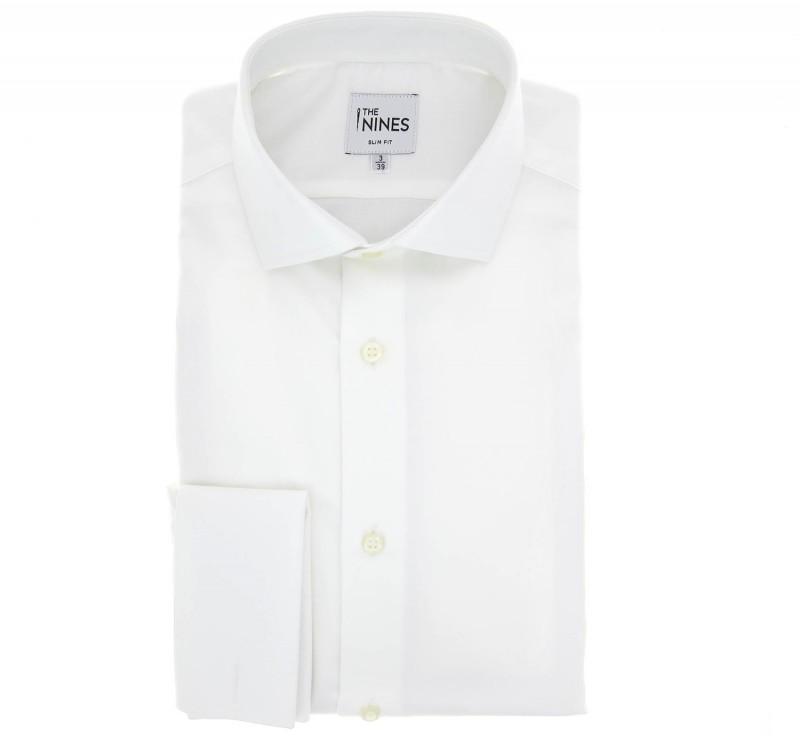 Weisses slim-fit Twill-Hemd mit Umschlagmanschette mit offenem italienischen Kragen