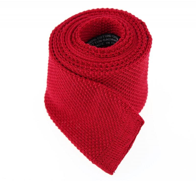 Rote Baumwolle Strickkrawatte - Novare